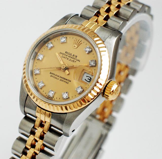 rolex datejust stahl gold mit diamanten ref 69173 dau damen date just ebay. Black Bedroom Furniture Sets. Home Design Ideas